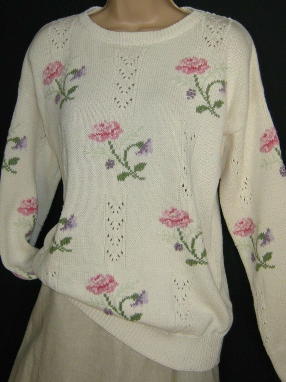 LAURA ASHLEY Vintage Cream Floral Chevron Lace Kni