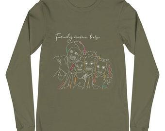 Custom Line Art Portrait | couples gifts | family portrait | long sleeve t-shirt | unisex