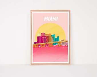 MIAMI skyline| downtown miami | miami art print | miami illustration