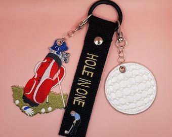 Golf Bag Tag    Golf Luggage Tag    Sports Gift   Golf Gift   Golf Embroidery Name Tag   Custom Name Tag    Key Chains