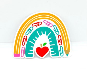 Teacher Sticker, School Supply Sticker, Back to School Gifts, Teacher Gifts, School Staff Gifts, School Party Stickers, Die Cut Stickers