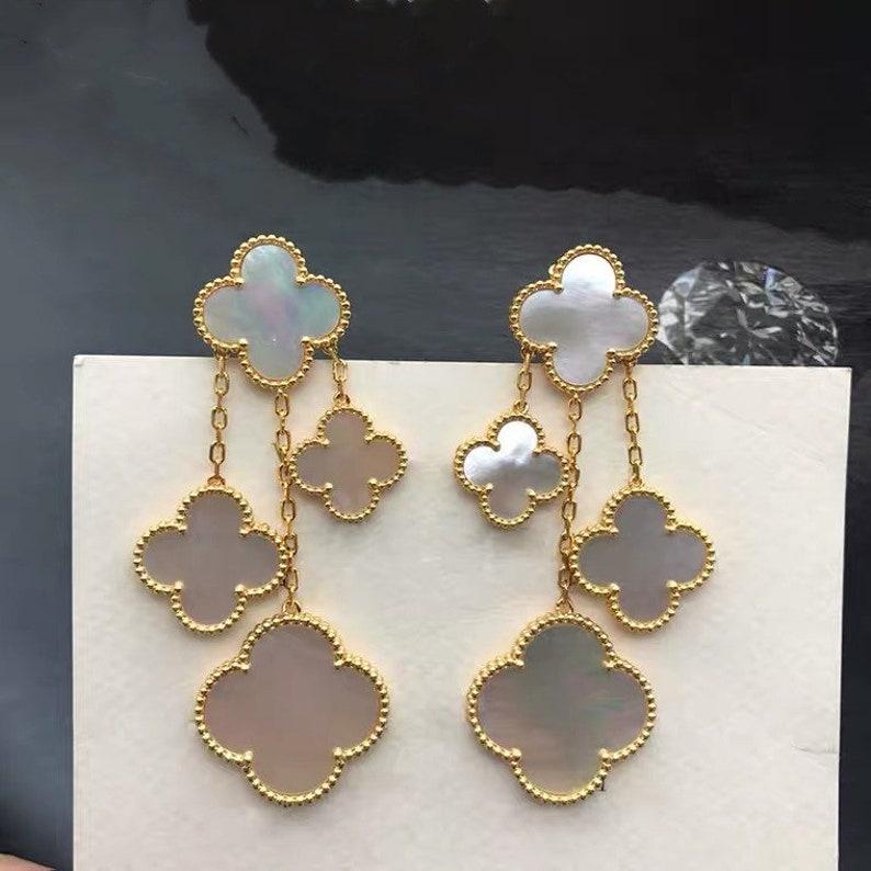 4 motifs drop earrings Four leaf clover earrings Multi colors clover drop earrings 925 sterling silver 18K gold plated earrings