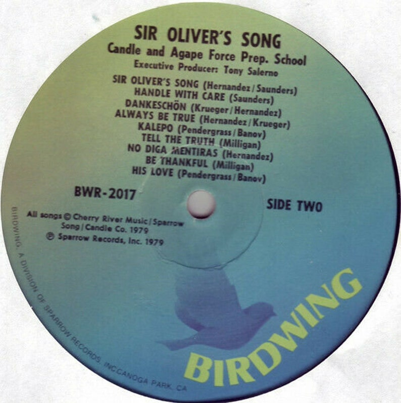 Nm Vinyl Lp 1979 Bwr-2017 Sir Oliver/'s Song By Candle Agape Force Prep School