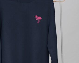 Flamingo Embroidery Design Crew Neck Sweater   Unisex   Embroider Bird Sweater   Flamingo Gifts   flamingo party   pink flamingo