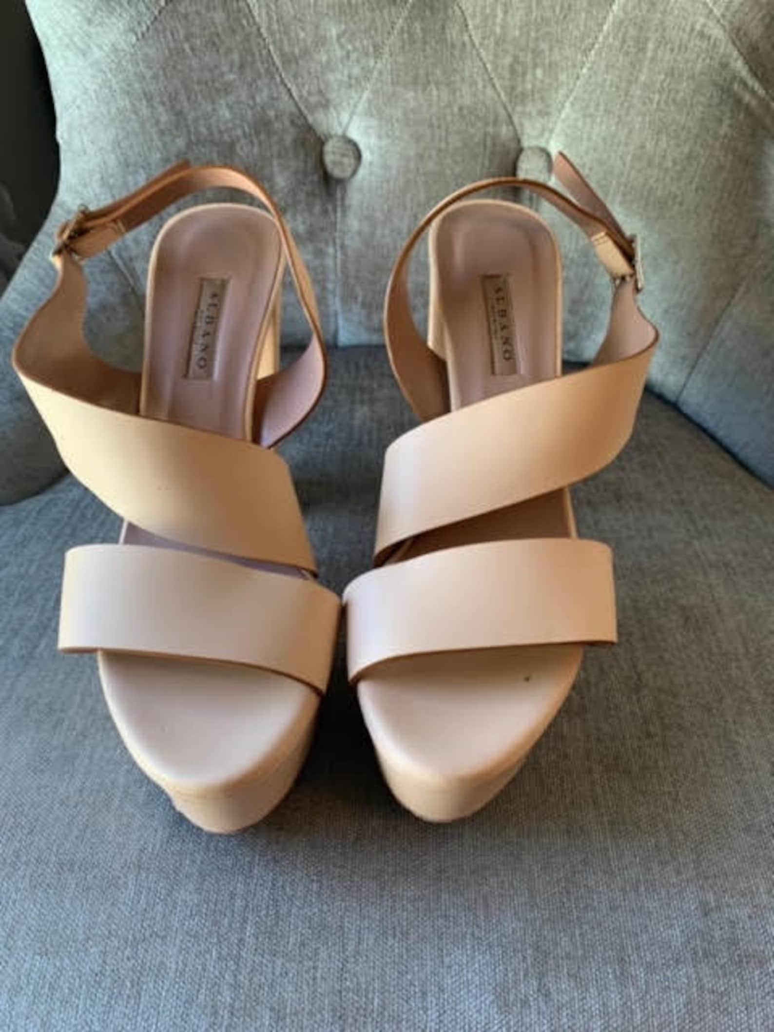 5.5 Inch Italian Nude/Pink Block Sandal Heels size 39   Etsy