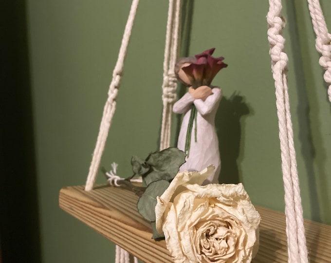 Handmade hanging macrame shelf