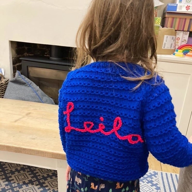 blue striped jumper with personalised name 2 years