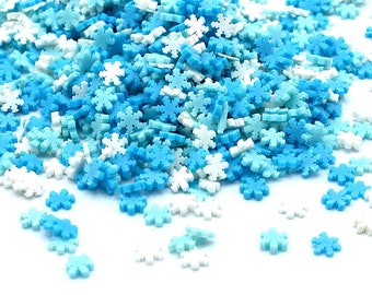 10g Blue And White Snowflake Fimo Slices, Christmas, Christmas Crafts, Polymer Clay, Resin Craft, Art Supplies, Slime, DIY, Snowflakes