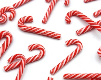 5 x Red And White Candy Cane Charms, Christmas Candy Cane, Christmas Crafts, Card Making, Resin Art, Embellishment, Jewellery Making, Xmas