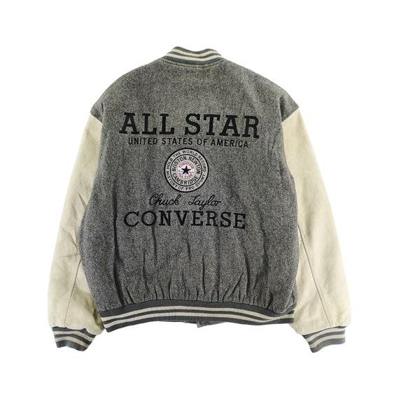 Vintage Converse Varsity Jacket Wool Size M Gray J