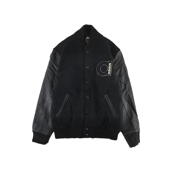 Vintage Adidas Varsity Jacket Wool Size L Black Ja