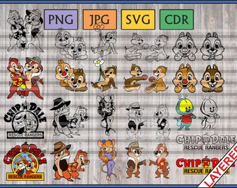 Chip and Dale Bundle, Instant Download, 12 layered color vectors + 12 lined, svg, png, cdr, jpg, perfect for cutting or printing!