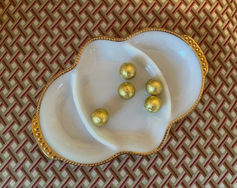 Retro Anchor Hocking Vintage 3 Part Relish Dish Made in USA Circa 1960s Divided Milk Glass Dish w Gold Rim 10 Milk Glass Plate PL3667