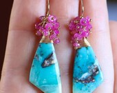 Beautiful Turquoise and Ruby Dangle Earrings, Turquoise Smooth Fancy shape Sterling Silver Earring