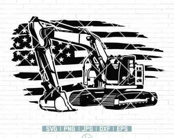 Us Excavator Svg | Excavator Clipart | Heavy Equipment Svg | Pipeliner Svg | Excavator Files for Cricut | Excavator Cut Files For Silhouette