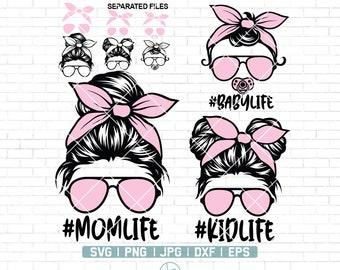 Momlife Svg | Mom Life Kid Life Svg | #Momlife Svg | #Kidlife Svg | Mom and Daughter svg | Messy bun skull svg | Momlife Png | Digital Files