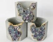 "Set of 3 Mini Fluorite Crystal Planter | 2"" Octagon concrete pot"