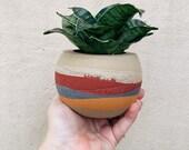 "Moab Orb | Layered concrete planter | Desert plant pot | 3"" Sphere"
