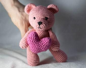 CROCHET PATTERN Teddy Bear with Crochet Heart, Mini Amigurumi Teddy Bear Pattern, Valentine Crochet Amigurumi Pattern