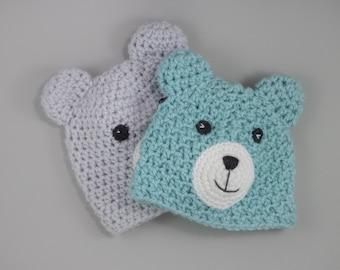 Easy CROCHET Hat PATTERN, Teddy Bear Hat, Crochet Animal Hat Pattern | crochet pattern, newborn to adult sizes.