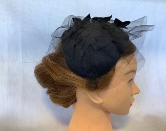 Vintage 50's Navy Blue/black half hat, vintage hats, retro fashion, fascinator.