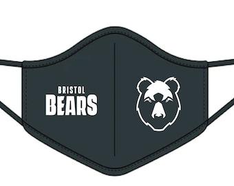 Bristol Bears T-Shirt Word Art Bear Head Logo Shirt