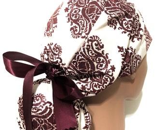 Surgical Caps Yellow Ribbon Ponytail Scrub Cap for Women Geometric Pattern Scrub Hat Scrub Hats