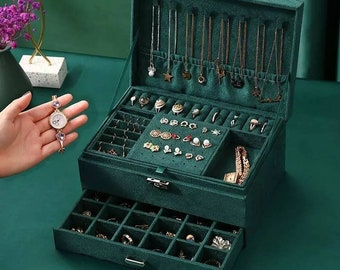 Women Jewelry Organizer Box, 3-Layer Velvet Jewelry Boxes Display Storage Case with Lock for Rings Necklace Earrings