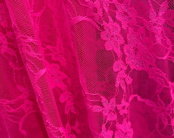 Hot Pink Floral Stretch Lace Fabric Sold by the yard