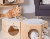 Ottoman and Footstool Living Room Pet House, Felt Cubby Cat Cave Hideaway, Kitchen Feeder Stand for Cats Solid Wood Stool with Scratch Pad