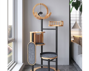 Large Cat Climbing Tower with Scratching Post Sisal Rope,Solid Wood Condo House Furry Bed, Multi-Level Cat Tree Platform for Indoor
