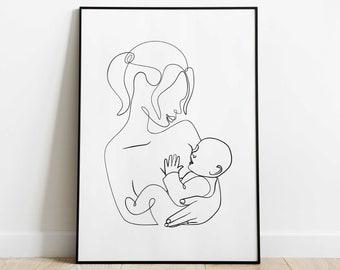 Breastfeeding Line Art Print, Mothers Day Line Art, Mother and Baby Print, minimalist Nursery Decor, DiGITAL artwork