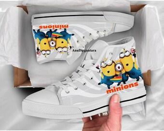 Funny Cute Minion themed custom shoes sneakers for fan, adults kids women men