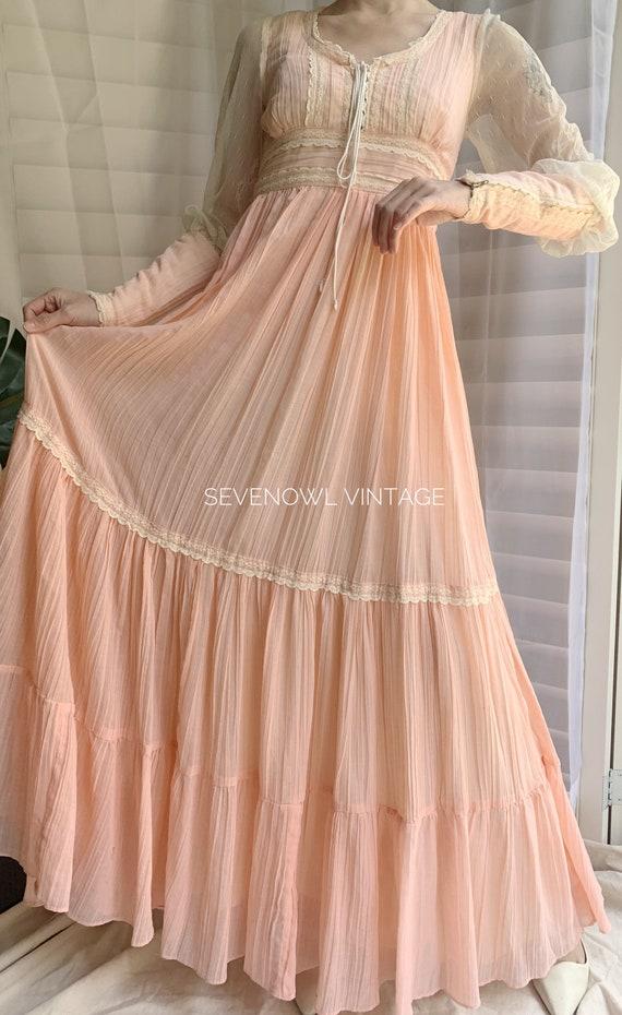 Vintage Gunne Sax Pink Prairie Mixi Dress-1970s G… - image 2