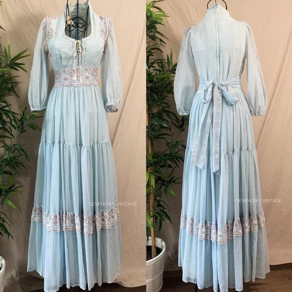 Vintage Gunne Sax Prairie Maxi Peasant Dress-1970… - image 1