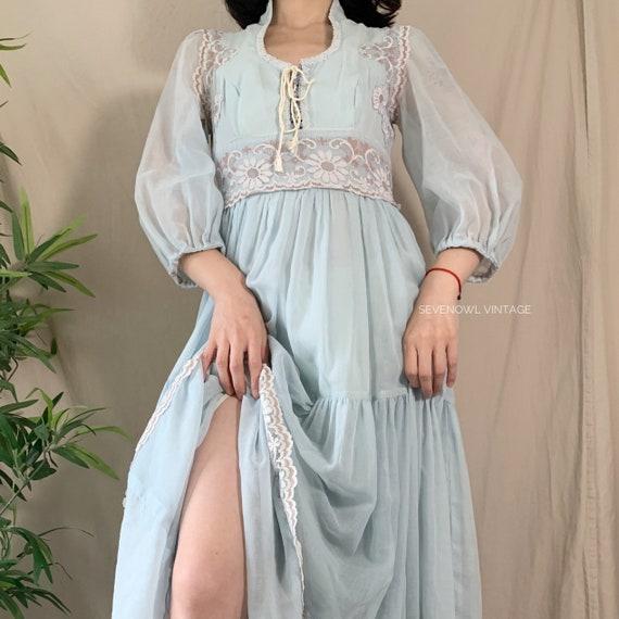 Vintage Gunne Sax Prairie Maxi Peasant Dress-1970… - image 4