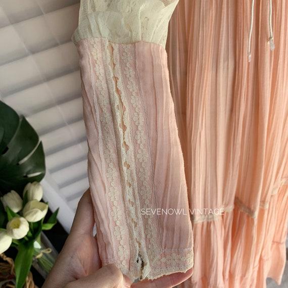 Vintage Gunne Sax Pink Prairie Mixi Dress-1970s G… - image 6