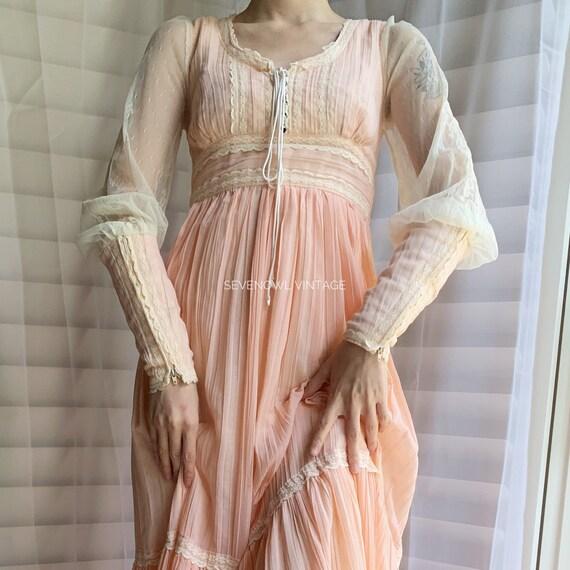 Vintage Gunne Sax Pink Prairie Mixi Dress-1970s G… - image 3