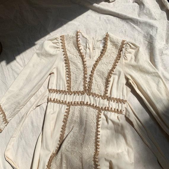 1970s Vintage Prairie Boho Mixi Dress-Gunne Sax S… - image 4