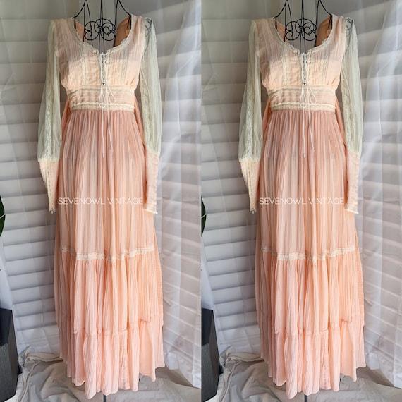 Vintage Gunne Sax Pink Prairie Mixi Dress-1970s G… - image 1