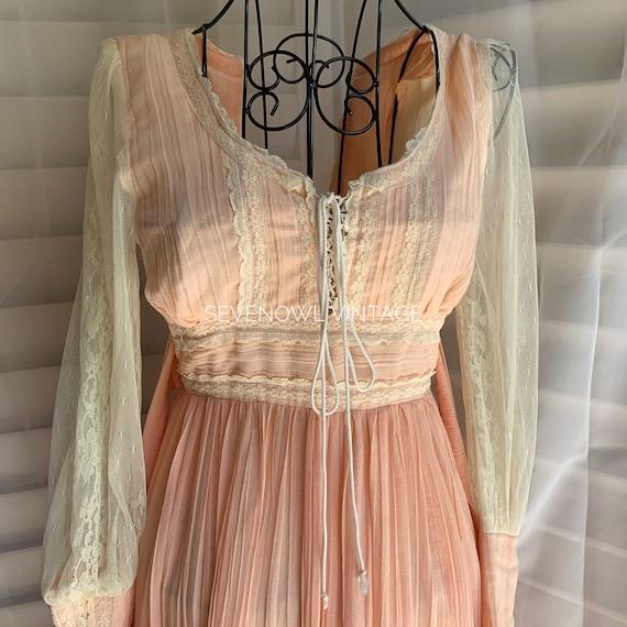 Vintage Gunne Sax Pink Prairie Mixi Dress-1970s G… - image 5