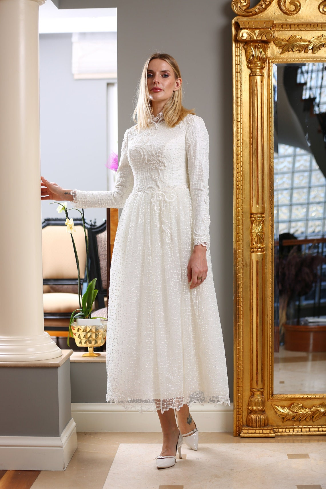 1940s Style Wedding Dresses | Classic Wedding Dresses Muslim Long Sleeves Wedding Dresses Evening Gown Nikah Hijab Bridesmaid Engagement Henna High Neck Lace Bridal Gowns $539.92 AT vintagedancer.com
