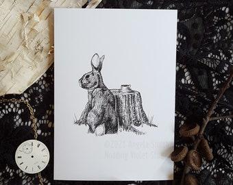 A Guest for Tea: 5x7 Art Print || Bunny Art Print, Rabbit Wall Decor, Magical Animals