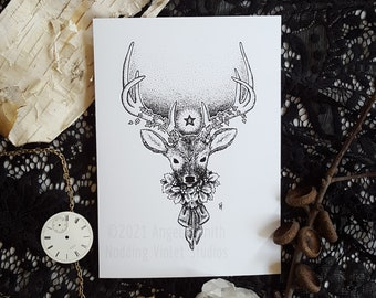 Yule Stag: 5x7 Art Print || Holiday Art Print, Winter Decor, Solstice, Deer