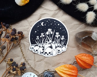Bone Garden: 3-inch Vinyl Sticker || Waterproof Sticker, Skulls, Iris, Moon, Laptop, Journal