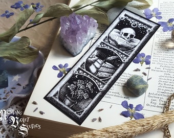 Story Witch: Illustrated Bookmark || Witchy Bookmark, Art Bookmark, Reader Gift, Goth Bookworm, Dark Academia