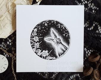 April Portal: 5x5 Art Print || Bunny Art Print, Rabbit Wall Art