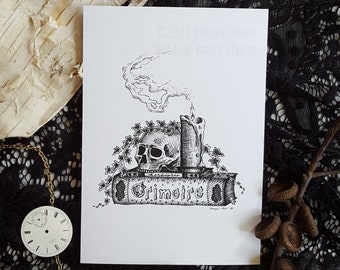 Grimoire: 5x7 Art Print || Witchy Art Print, Halloween Decor, Spooky Print, Skulls, Spell Books