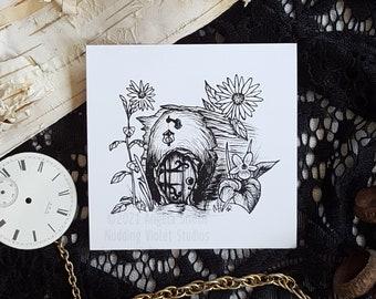 Fairy Door: 3x3 Art Mini Print || Magical Art Print, Fairycore Wall Art, Cottagecore
