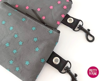 Mini Coin Purse/Zipper Pouch (PINK or TEAL Stars on Grey)